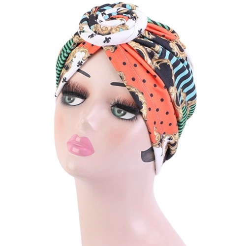 Բամբակյա կանացի թյուրբան - գլխարկ Magic Mirror Orange
